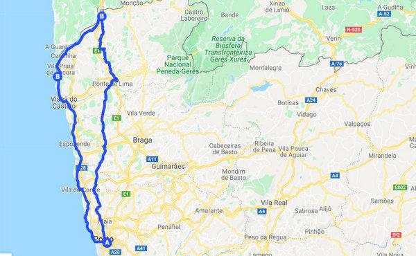 Les chemins de Portio à l'Espagne