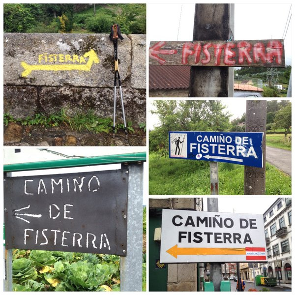 Les panneaux indiquant le chemin du Finistère