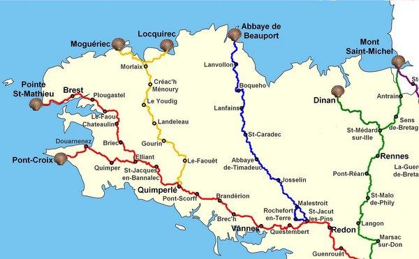 Carte des chemins de Bretagne