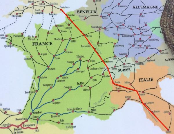 Via Francigena : itinéraire
