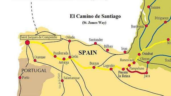 Carte du Camino Frances et du Camino del Norte
