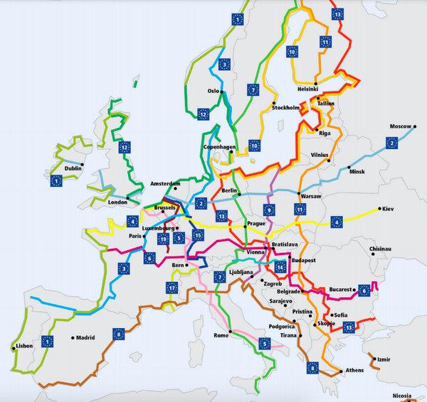 Les routes EuroVelo en Europe