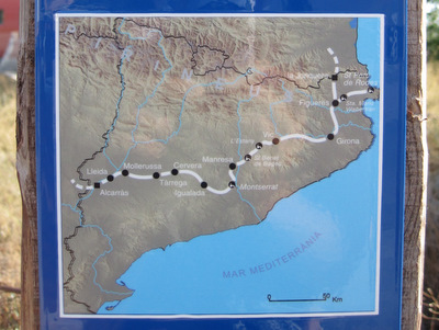 Carte du chemin en Catalogne
