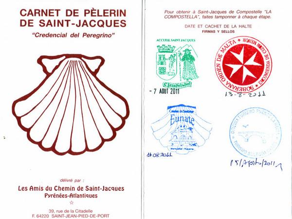 La credenciale le passeport du p lerin par radiocamino - Distance st jean pied de port st jacques de compostelle ...